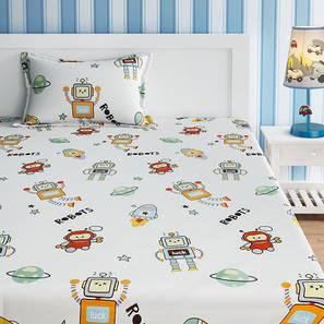 Shade Bedsheet Set (White, Single Size) by Urban Ladder - Front View Design 1 - 406503