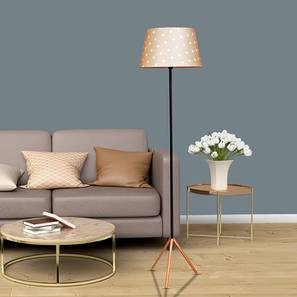 Beatrice Floor Lamp (Cotton Shade Material, Black & Copper, Tan Shade Colour) by Urban Ladder - Cross View Design 1 - 407987