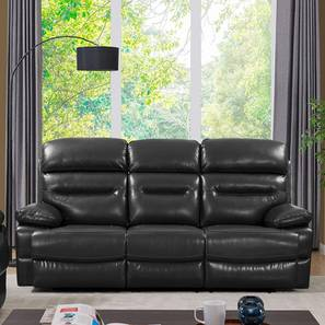 Lennon Recliner (Black, Three Seater) by Urban Ladder - Front View Design 1 - 408238