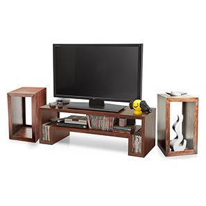 Eulers tv unit side tables set teak finish 00 fncomb11mh30005 t