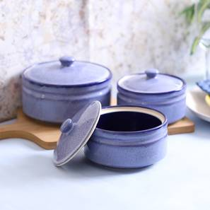 Geneva Serving Bowl with Lid Set of 3 (Blue) by Urban Ladder - Front View Design 1 - 411912