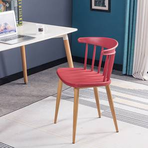 Ewing Dining Chair (Red, Plastic & Brown Wooden Finish) by Urban Ladder - Front View Design 1 - 412716
