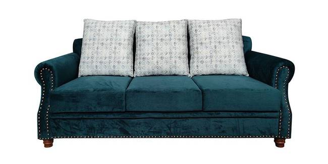 Cancun Fabric Sofa - Teal Green (Checkered Teal, Fabric Sofa Material, Regular Sofa Size, Regular Sofa Type)