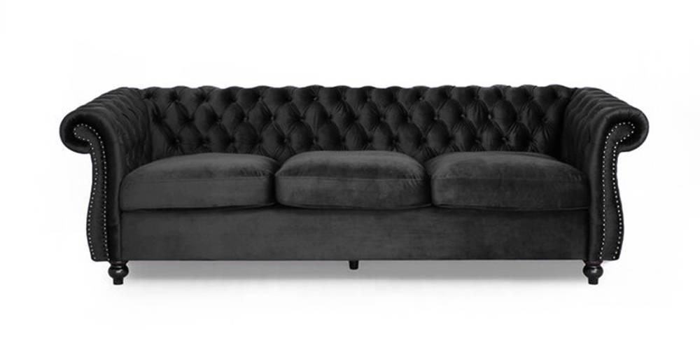 Edessa Fabric Sofa(Grey) (Grey, 3-seater Custom Set - Sofas, None Standard Set - Sofas, Fabric Sofa Material, Regular Sofa Size, Regular Sofa Type) by Urban Ladder - -