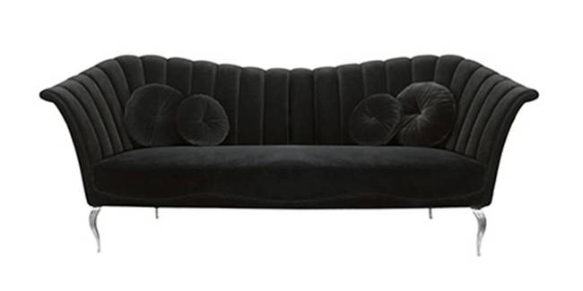 Orlando Fabric Sofa(Black) (Black, 3-seater Custom Set - Sofas, None Standard Set - Sofas, Fabric Sofa Material, Regular Sofa Size, Regular Sofa Type)