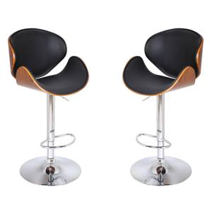Emil Adjustable Height Swivel Bar Stools - Set of 2 (Walnut Finish) by Urban Ladder
