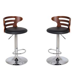 Mcgillin Adjule Height Swivel Bar Stools Set Of 2 Walnut Finish