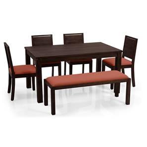 Arabia - Oribi 6 Seater Dining Set (With Bench) (Mahogany Finish, Burnt Orange) by Urban Ladder
