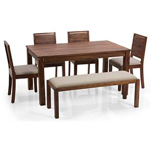 Arabia - Oribi 6 Seater Dining Set (With Bench) (Teak Finish, Wheat Brown) by Urban Ladder