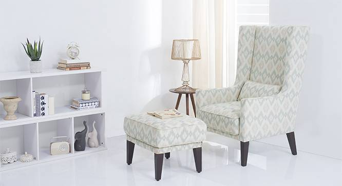 Morgen Wing Chair & Ottoman (Shoreline Ikat) by Urban Ladder