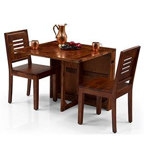 Danton 3-to-6 - Capra 2 Seater Folding Dining Table Set (Teak Finish) by Urban Ladder