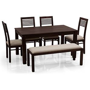 Arabia - Zella 6 Seater Dining Table Set (With Upholstered Bench) (Mahogany Finish, Wheat Brown) by Urban Ladder