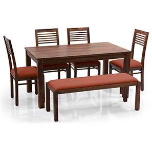 Arabia - Zella 6 Seater Dining Table Set (With Upholstered Bench) (Teak Finish, Burnt Orange) by Urban Ladder - - 62759