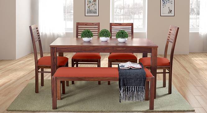 Arabia - Zella 6 Seater Dining Table Set (With Upholstered Bench) (Teak Finish, Burnt Orange) by Urban Ladder