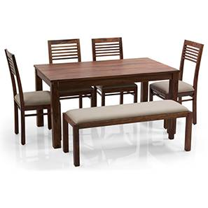 Arabia - Zella 6 Seater Dining Table Set (With Upholstered Bench) (Teak Finish, Wheat Brown) by Urban Ladder - - 62785