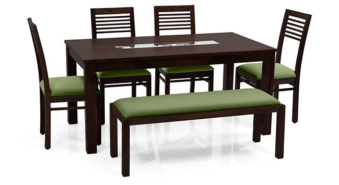 Brighton Large - Zella 6 Seater Dining Table Set (With Upholstered Bench) (Mahogany Finish, Avocado Green) by Urban Ladder