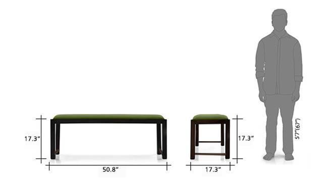 Oribi upholstered dining bench mahogony avocado green 7