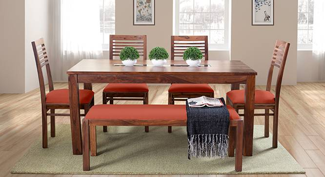 Brighton Large - Zella 6 Seater Dining Table Set (With Upholstered Bench) (Teak Finish, Burnt Orange) by Urban Ladder