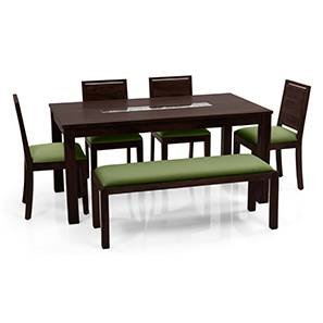 Brighton Large - Oribi 6 Seater Dining Table Set (With Upholstered Bench) (Mahogany Finish, Avocado Green) by Urban Ladder - Front View Design 1 - 62924