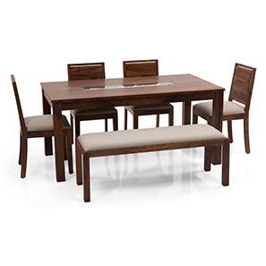 Brighton Large - Oribi 6 Seater Dining Table Set (With Upholstered Bench) (Teak Finish, Wheat Brown) by Urban Ladder