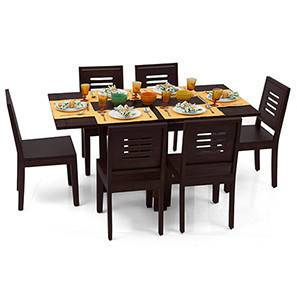 Danton 3-to-6 - Capra 6 Seat Folding Dining Table Set (Mahogany Finish) by Urban Ladder - - 6368