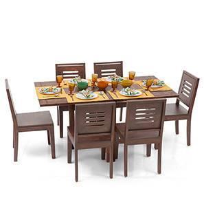 Danton 3-to-6 - Capra 6 Seat Folding Dining Table Set (Teak Finish) by Urban Ladder - - 6381