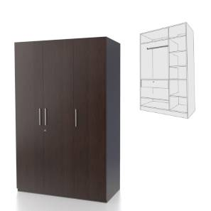 Domenico XL Wardrobe (Three Door, Without Mirror Configuration) by Urban Ladder - - 68276