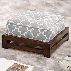 Raymond Footstool (Walnut Finish, Grey) by Urban Ladder