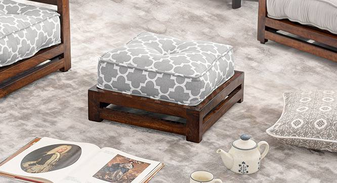 Raymond Footstool (Walnut Finish, Grey) by Urban Ladder - - 68701