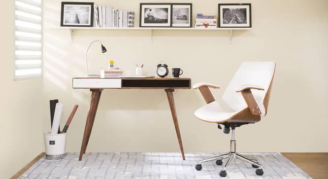 Ray Study Chair (Walnut Finish, White) by Urban Ladder