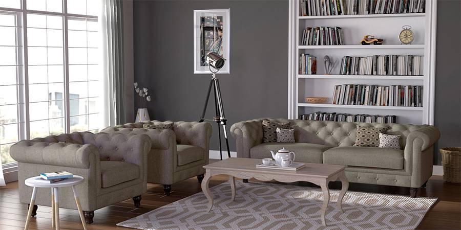 Winchester Fabric Sofa (Mist Brown) (Mist, Fabric Sofa Material, Regular Sofa Size, Regular Sofa Type) by Urban Ladder - - 77117