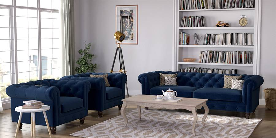 Winchester Fabric Sofa (Cobalt Blue) (Cobalt, Fabric Sofa Material, Regular Sofa Size, Regular Sofa Type) by Urban Ladder - - 77212