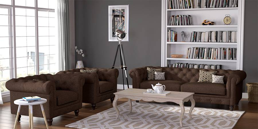 Winchester Fabric Sofa (Mocha Brown) (Mocha, Fabric Sofa Material, Regular Sofa Size, Regular Sofa Type) by Urban Ladder