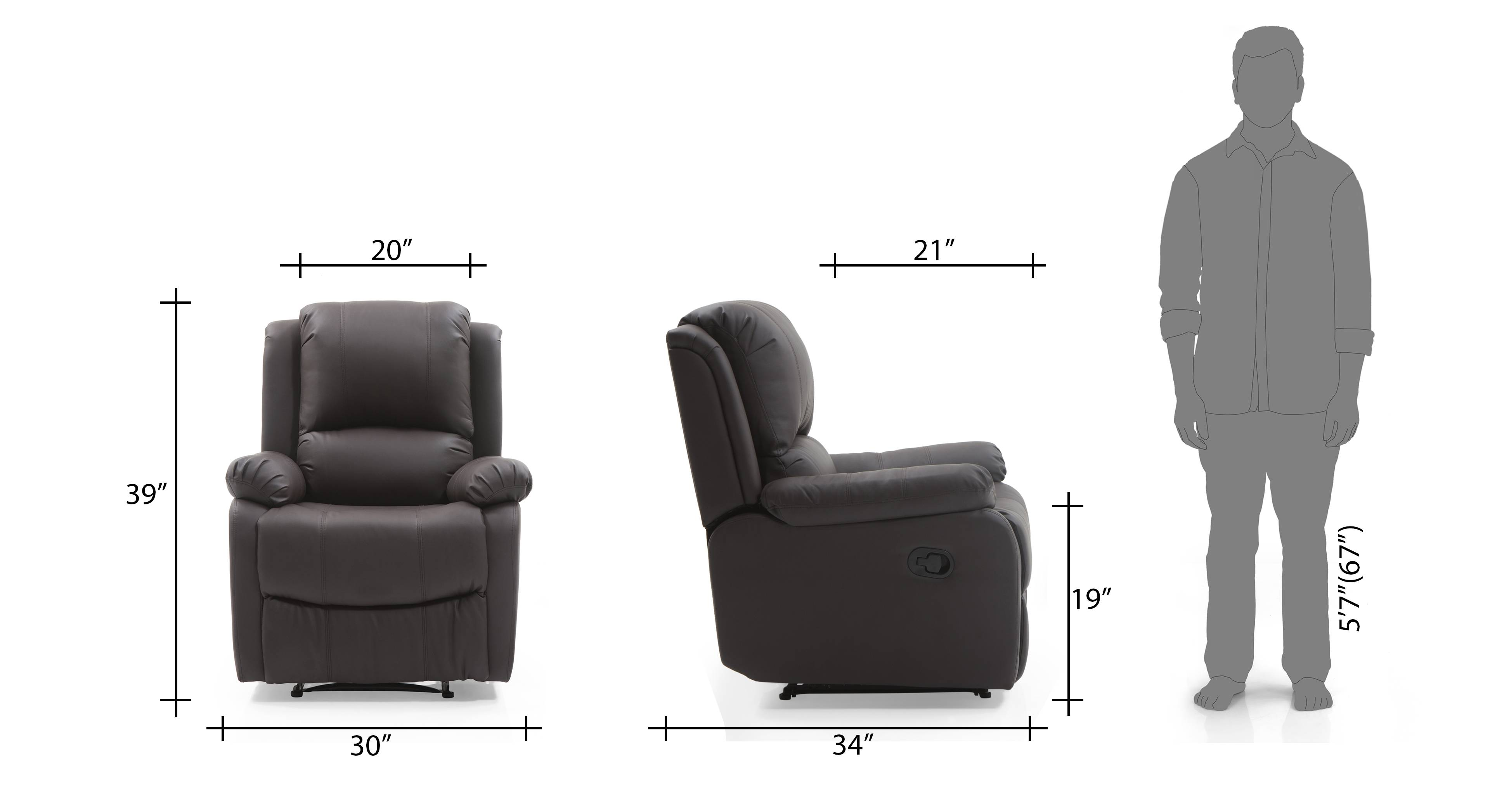 Tribbiani recliner chocolate br leatherette 12
