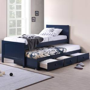 Bering Single Bed With Trundle And Storage Size Blue Finish