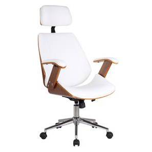 Ray Executive Study Chair (Walnut Finish, White) by Urban Ladder