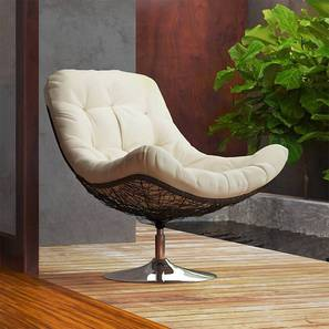 Calabah Swivel Lounge Chair (Cream) by Urban Ladder