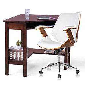 Collins - Ray Study Set (White, Dark Walnut Finish) by Urban Ladder