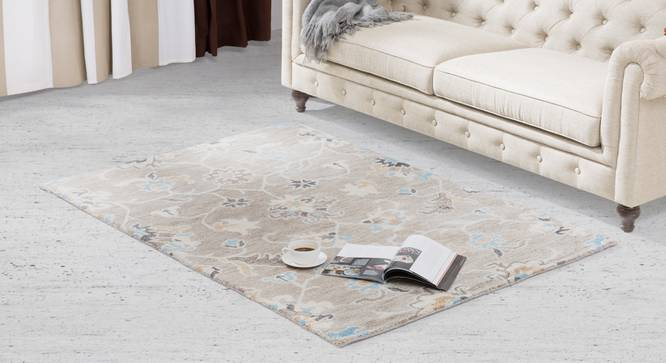 "Sardis Hand Tufted Carpet (122 x 183 cm  (48"" x 72"") Carpet Size, Fossil Grey) by Urban Ladder - - 84846"