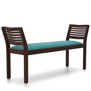 Latt Upholstered Bench (Mahogany Finish, With Green Upholstery Configuration) by Urban Ladder