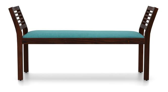 Latt Upholstered Bench (Mahogany Finish, With Blue Upholstery Configuration) by Urban Ladder - Front View Design 1 - 85750