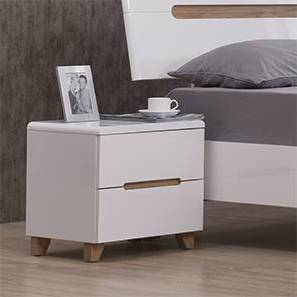 Oslo High Gloss Bedside Table (White Finish) by Urban Ladder - - 86454