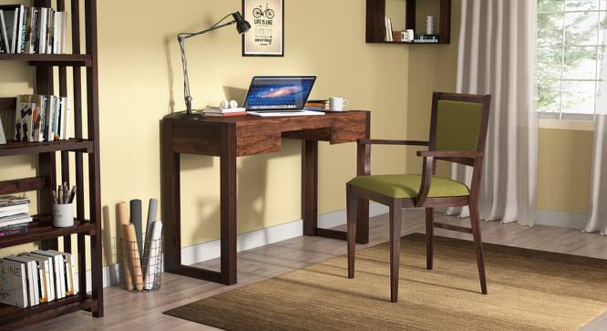 Aurelio Study Chair (Mahogany Finish, Olive) by Urban Ladder