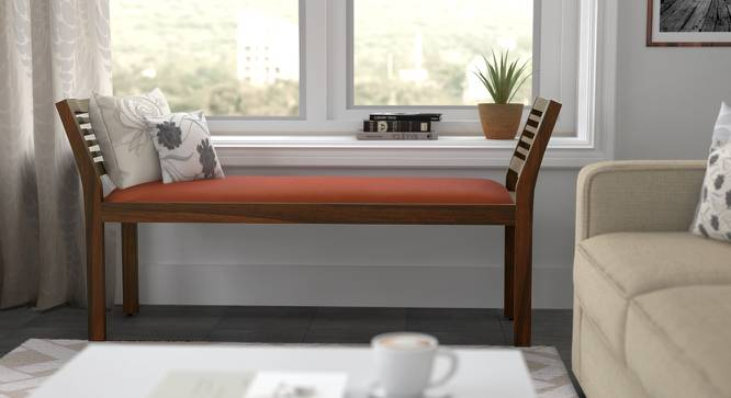 Latt Upholstered Bench (Teak Finish, With Amber Upholstery Configuration) by Urban Ladder - Full View Design 1 - 89120