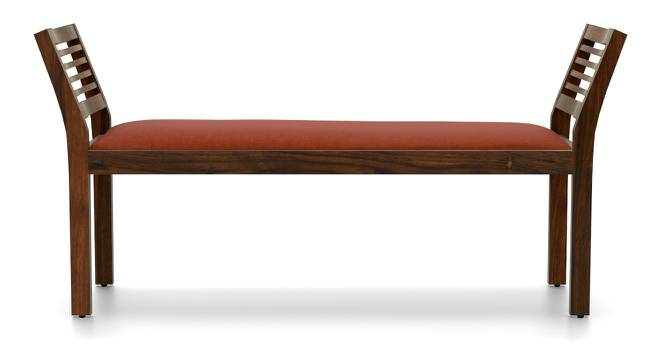 Latt Upholstered Bench (Teak Finish, With Amber Upholstery Configuration) by Urban Ladder - Front View Design 1 - 89121