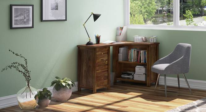Dickens Corner Desk (Teak Finish) by Urban Ladder - Full View Design 1 - 89867