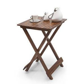 Latt Folding Table/Stool Tall (Teak Finish) by Urban Ladder - - 9