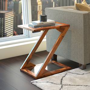 Zeta Side Table (Teak Finish) by Urban Ladder
