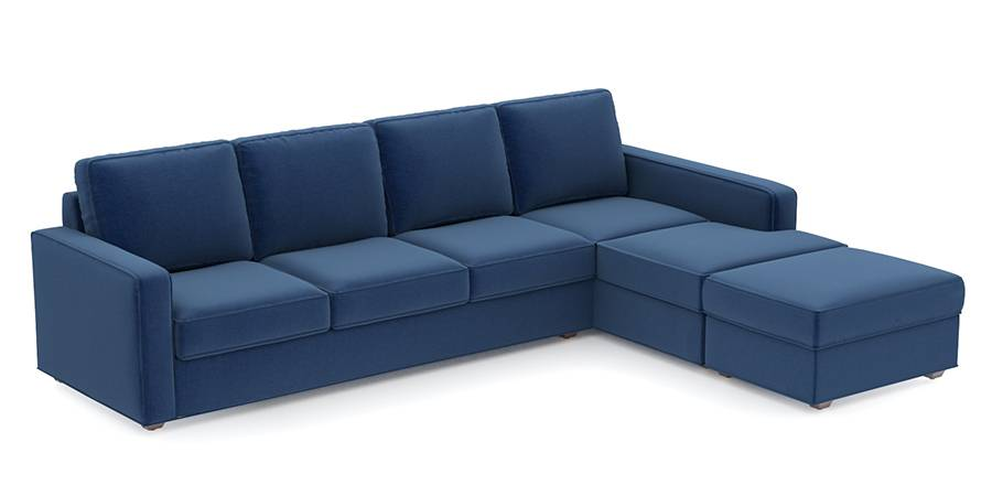 Apollo Sofa Set (Cobalt, Fabric Sofa Material, Compact Sofa Size, Soft Cushion Type, Sectional Sofa Type, Sectional Master Sofa Component, Regular Back Type, Regular Back Height) by Urban Ladder - - 96969