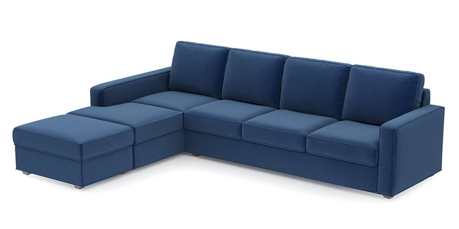 Apollo Sofa Set (Cobalt, Fabric Sofa Material, Compact Sofa Size, Soft Cushion Type, Sectional Sofa Type, Sectional Master Sofa Component, Regular Back Type, Regular Back Height) by Urban Ladder - - 96971